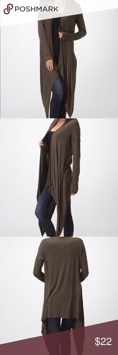 OLIVE GREEN STYLISH COZY FALL WARM DUSTER WOMANS Duster is so cozy! 97% Rayon, 3% Spandex. Very light weight. Bundle for savings! Bellino Clothing Tops Tees - Long Sleeve