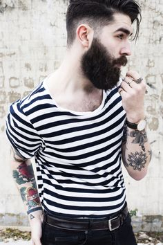 Chris John Millington- The shaved side of the head is really cool and tough looking I think. Chris John Millington, Hipster Man, Hipster Style, Beard Love, Beard Tattoo, Nautical Fashion, Hair And Beard Styles, Fashion Fabric, Bearded Men