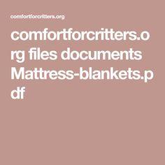 comfortforcritters.org files documents Mattress-blankets.pdf