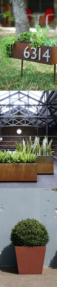 Natural patina planters give an industrial modern edge to any space! Whether you're looking for an accent or a focal point, we have a varied selection of natural steel finishes at Urbilis.com!