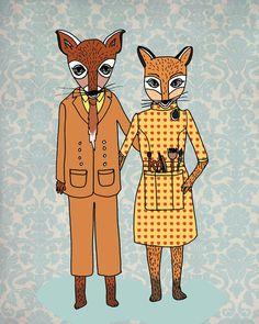 Fantastic Fox Couple Art Print for woodland nursery