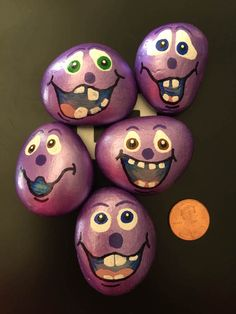 Silly Purple Faces Painted on Rock by GodsGlitter on Etsy