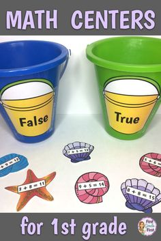 Teachers, looking for math centers for your first grade classroom? Check out these easy to set up math center printables to use during guided math or when teaching in small groups. Link leads to ten simple to use awesome math centers that teach addition, subtraction, place value, measurement, hundreds chart, doubles facts and more.
