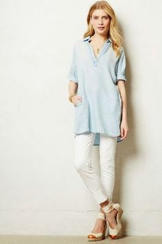 The Look 4 Less: Anthropologie Dotted Chambray Tunic