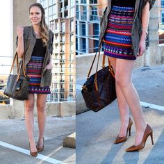 """""""LOVING this #tribal print skirt on the blog today! Ladies, gents, I don't know about you but I'm headed to happy hour... Which means heels off, and a…"""""""