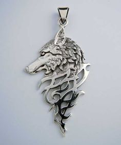 Image Detail for - Home ► Dramatic Silver Wolf Head Pendant