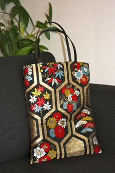 BK201 Gorgeous Pattern OBI Tote Bag With Leather by RummyHandmade