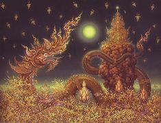Thailand Art, Temple Thailand, Fantasy Concept Art, Thai Art, Buddha Art, Beautiful Fantasy Art, Visionary Art, Butterfly Art, Religious Art