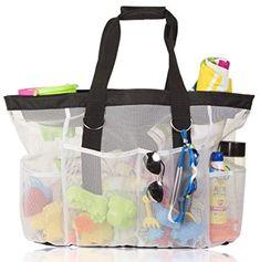Amazon.com | Extra Large Mesh Beach Bag Tote, Zipper Closure, Anti-Rip Handles, 8 Pockets | Travel Totes Large Purses, Large Bags, Travel Tote, Travel Luggage, Best Beach Bag, Beach Tote Bags, Reusable Bags, Leather Purses, Amazon