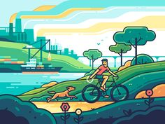 Ecology designed by Yegor Meteor. Connect with them on Dribbble; Outline Illustration, Landscape Illustration, Graphic Design Illustration, Adobe Illustrator, Smoke Design, Ecology Design, Forest Design, Nature Posters, Mural Art