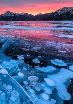 Fire Bubbles.  Belly of Abraham, Nordegg, Alberta. Sunrise on Abraham Lake, Canada by Edwin Martinez.