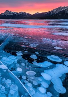 Fire Bubbles.  Belly of Abraham, Nordegg, Alberta. Sunrise on Abraham Lake, Canada by Edwin Martinez.