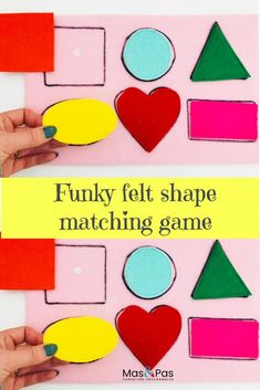 A fab and funky game to help children to match shapes and learn the names of different shapes. A great learning activity for the early years or a resource for home education. Shape Games For Kids, Matching Games For Toddlers, Color Activities For Toddlers, Shapes For Toddlers, Infant Activities, Kids Shapes, Learning Shapes, Learning Colors, Kids Learning