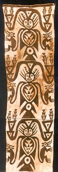 "Chachapoyas Area, Peru   Abisco or Pajaten Culture   900 - 1400   64 x 221 cm (2' 1"" x 7' 3"")   Three repeated motifs of a figure with a feline head, bird's tail and a fish in its stomach. Two appendages become the monkey's tails. A headdress holds two fish at either side.   Parts have been replaced from a similiar piece that was found with it and was probably originally attached to one side of this panel. (clearly visible).   Painted, basket weave ( paired warps and wefts ), cotton"