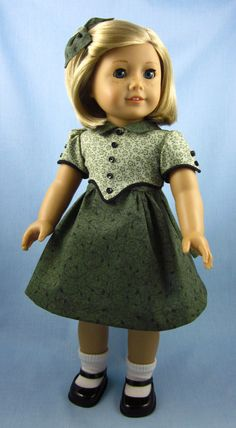 American girl 1930's pleated frock   1930s Frock for American Girl Dolls - Kit or Ruthie - Green Floral