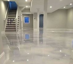 Metallic Epoxy Floor Basement Walls, Basement Bedrooms, Basement Flooring, Bathroom Flooring, Basement Ideas, Flooring Ideas, Basement Gym, Basement Layout, Gray Basement