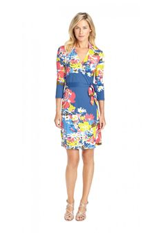 Lila Wrap Dress In Ainsley in NAVY/WHITE/RASPBERRY by J.McLaughlin