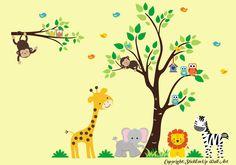 "Jungle Safari Animals Repositionable Wall Decal Baby Nursery Decor 83"" x 120"" Kids Wall Decals, Baby Room Wall Stickers, Animal Wall Decals, Tree Decals, Wall Murals, Jungle Theme Nursery, Nursery Wall Decor, Nursery Decals, Animal Nursery"