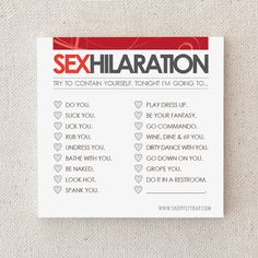 "Naughty, Adult Anniversary Gift. Sexy Sticky Notes. For Husband, Wife, Boyfriend, Girlfriend. Paper. First 1st. ""Sexhilaration"" (NSN-L001) on Etsy, $5.66 CAD"