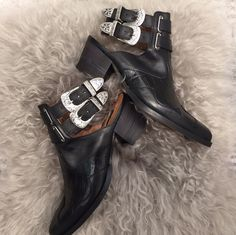 These western inspired ankle boots are a Personal Shopper favourite. Featuring an antique style double buckle strap and cut-out detail, partner with cut off denim for the ultimate in casual cool. #Topshop