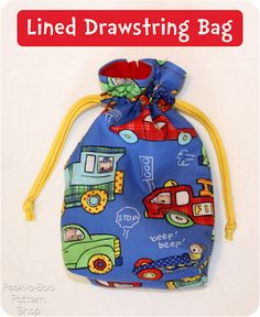 Lined Drawstring Bag Tutorial--I made this in less than hour except for the 10 minutes to monogram the outer front.