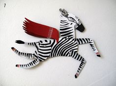 Ziggy the Zebra / Updated Horse Articulated Decoration  / Hinged Beasts Series by benconservato.