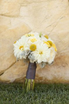 White dahlia and yellow billy ball bouquet