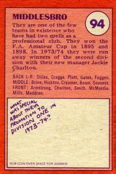 1974-75 A&BC Gum #94 Middlesbrough Team Back