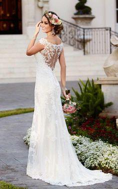 Taft en Tule Wedding Dress Stella York Trouwjurk Bruidsjurk Simpel Princes Stoer Lace Open Rug Ivoor Ivory