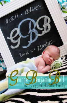 DIY chalkboard, with baby stats, would be cute baby gift, could hang in room