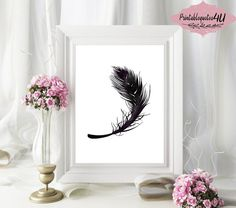 Black Feather Print Black Feathers Wall Art by PrintableQuotes4U