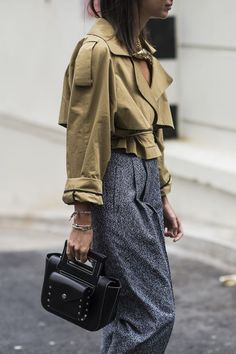 How to style olive with a grey midi skirt
