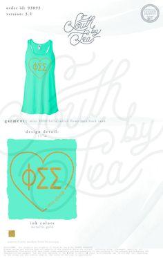 Phi Sigma Sigma | Mint Green Tank | South by Sea | Sorority Shirts | Sorority Tanks | Greek Shirts