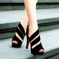 Sexy Women's Zipper Stilettlo Pep Toe Platform Heel Sandals