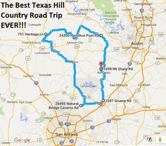 The ultimate Texas hill country #roadtrip - doing this one ASAP!  The entire drive is 189 miles – that's 4 hours, 9 minutes