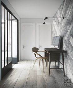 Mix up the lines with linear floors and herringbone walls. ...............katty schiebeck | penthouse
