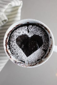 Chocolate Raspberry mug cake decorated with a heart
