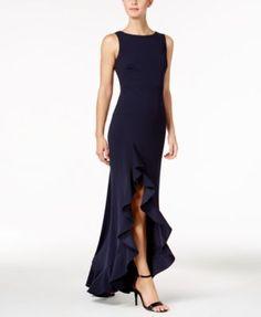 d0556f72bf1 Calvin Klein Ruffled High-Low Gown   Reviews - Dresses - Women - Macy s