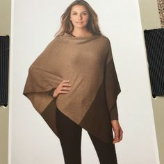 Wool cashmere poncho. NWT.  Brand new in original packaging. Brown and tan wool and cashmere poncho. One size fits most. Also selling in black. See photo for measurements. ❌open to offers. No trades.❌ Nordstrom Jackets & Coats Capes