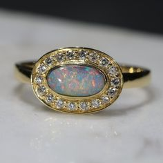 Natural Australian Boulder Opal and Diamond Gold Ring - Size 7 Code Opal Rings, Gold Rings, Gemstone Rings, Red Opal, Opal Color, Pretty Rings, Australian Opal, Opal Jewelry, Natural Diamonds