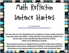 Math Reflection Sentence Starters - Freebie! • What I Have Learned                                                                                                                                                     Plus