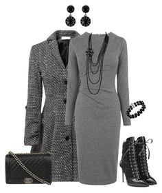 Winter grey day dress outfit created by tsteele on Polyvore featuring polyvore, fashion, style, Whistles, Relaxfeel, Giuseppe Zanotti, Chanel, Givenchy, Belk & Co., women's clothing, women's fashion, women, female, woman, misses and juniors