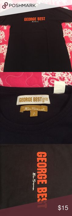 George Best Tshirt! George Best Tshirt with number 11 on back! Writing is in orange and the lettering itself is a velvet material! Ben Sherman Shirts