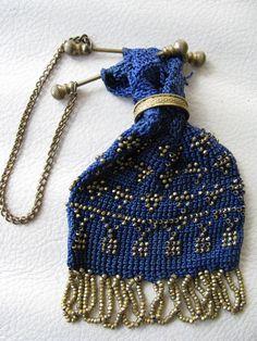 Antique Victorian Edwardian Blue Crochet Gold Steel Bead Miser Coin Purse #EveningBag