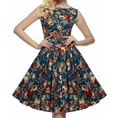 Sweetmeet Women's 1950s Rockabilly Sleeveless Floral Summer Party Picnic Dresses ** Tried it! Love it! Click the image. : Evening dresses