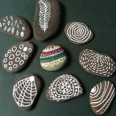 Stones and sharpies - a white edding pen was used.