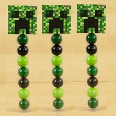 Comes with three green gumball tubes that include, lime green, watermelon, and black gumballs. Download the printables and print off, then cut out, and attach t
