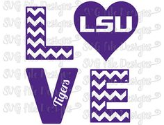 Chevron Love Louisiana State University LSU Tigers Football Logo Cutting File / Clipart in Svg, Eps, Dxf, Png, Jpeg for Cricut & Silhouette