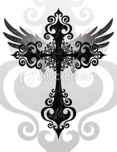 cross angel wings tattoo Another idea for a tattoo in memory of my Grandma Jeanette