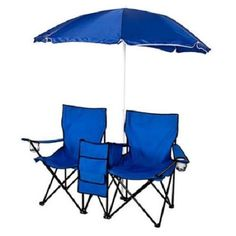 Double Folding Picnic Chair  w Umbrella Table Cooler Fold Up Beach Camping #BestChoiceProducts